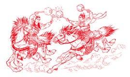 Chinees papier-knipsel dat - vecht Royalty-vrije Stock Afbeelding