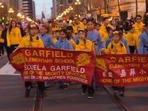Chinees paradeert 2016 San Francisco CA Garfield Elementary Stock Foto