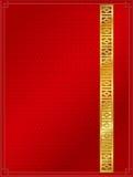 Chinees patroon achtergrondmalplaatjerood en goud Stock Afbeeldingen