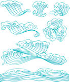Chinees stijlgolf en waterelement stock illustratie