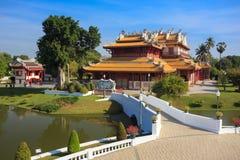 Chinees stijlpaleis van Wehart Chamrunt in het paleis van de Klappijn, Ay Royalty-vrije Stock Afbeelding