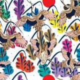 Chinees van de boomjapan van de inktberg de kraan naadloos patroon royalty-vrije illustratie