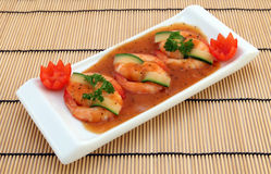 Chinees voedsel - de Gastronomische geroosterde garnalen van de koningstijger stock foto