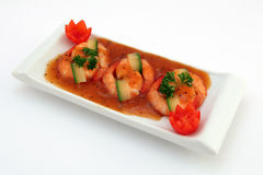Chinees voedsel - de Gastronomische geroosterde garnalen van de koningstijger op wit stock foto