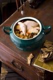 Chinees voedsel: eend soep met aweto Royalty-vrije Stock Afbeeldingen