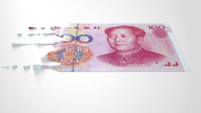 Chinees Yuan Melting Dripping Banknote stock foto