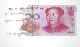 Chinees Yuan Melting Dripping Banknote royalty-vrije stock foto