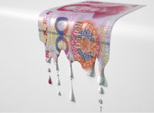Chinees Yuan Melting Dripping Banknote stock fotografie