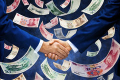 Chinees Yuan Money Handshake Business Stock Afbeelding