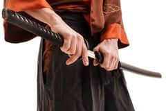 Chinees zwaard in schede dicht omhoog geschoten in studio Royalty-vrije Stock Foto's