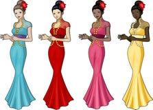 chineese婚礼服的美丽的妇女 库存照片