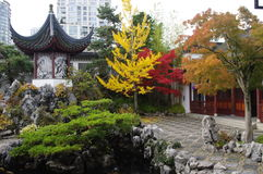 Chineese garden. Chinese architecture in China town, Vancouver, Canada Royalty Free Stock Photography