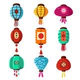 Chineese Lanters Decoration Set Stock Photo