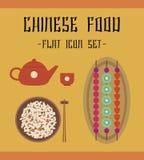 Chineese-Lebensmittelikonen Lizenzfreies Stockbild