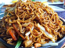 Chineese Noodles with vegetables and chicken Stock Image