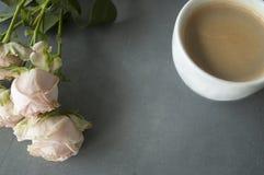 Chineese rose-clair s'est levé avec la tasse de coffe sur le fond concret Photographie stock libre de droits