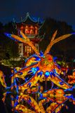 Chineese Sculptural Lighting at Gardens of Light, Montreal, Queb royalty free stock photo