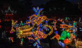 Chineese Sculptural Lighting at Gardens of Light, Montreal, Queb stock photography