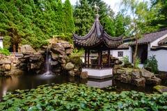 Chineese trädgård på sommar royaltyfria bilder