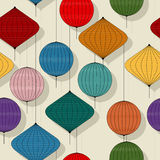 Chines paper lanterns. Repeating pattern Royalty Free Stock Image