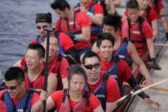 Chines rowing team Royalty Free Stock Image