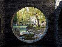 Chines style moon gate Royalty Free Stock Image