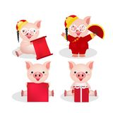 pig character celebration chinese vector illustration