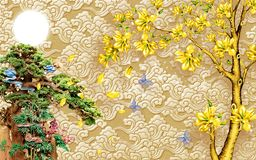 Free Chinese 3D Wallpaper Mural With Beige Background . Tree And Old Chinese House . Birds And Golden Tree Flowers Royalty Free Stock Photo - 166957715