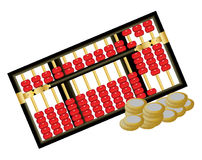 Chinese abacus. Antique Chinese abacus with red beads and coins on white background Royalty Free Stock Photography