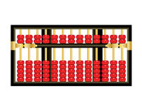 Chinese abacus. Antique Chinese abacus with red beads on white background Vector Illustration
