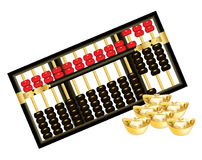 Chinese abacus. Antique Chinese abacus with red beads on white background Stock Photography