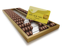 Chinese abacus with gold credit card Stock Photography