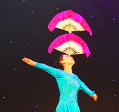 Chinese Acrobat With Fans Royalty Free Stock Image