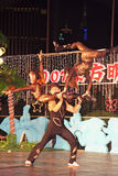 Chinese acrobats performing in a free street show, Shanghai Royalty Free Stock Photo