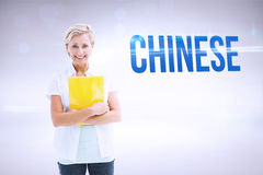 Chinese against grey background Stock Photography