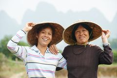 Chinese agricultural farm workers Royalty Free Stock Photos