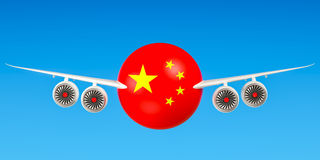 Chinese airlines and flying& x27;s, flights to China concept. 3D rend Stock Photo