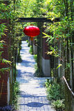 Chinese alley. The alley hung red lanterns, lined with green bamboo royalty free stock photography