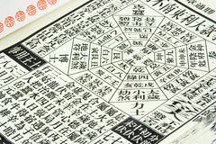Chinese almanac. Page of a Chinese almanac Stock Photography