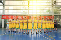 A Chinese amateur basketball team. Before the game, a China amateur basketball team in Jiangxi province. Filmed in August 30, 2014 royalty free stock photo