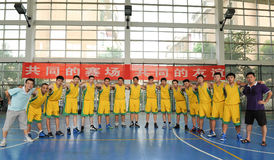 A Chinese amateur basketball team. Before the game, a China amateur basketball team in Jiangxi province. Filmed in August 30, 2014 stock image