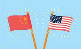 Chinese and American flags. Vector cartoon illustration of Chinese and American flags at blue background Royalty Free Stock Photos