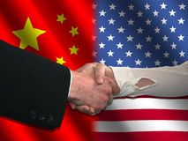 Chinese American handshake Royalty Free Stock Photo