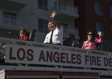 Chinese-American LA Fire Dept waves at 115th Golden Dragon Parade, Chinese New Year, 2014, Year of the Horse, Los Angeles, Califor Royalty Free Stock Photo