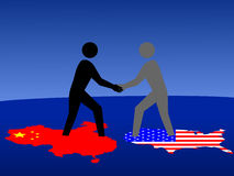 Chinese and American meeting Stock Photos
