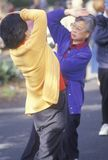 Chinese Americans practicing Tai Chi,. North Beach, Can Francisco, CA Stock Photo