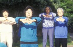 Chinese Americans practicing Tai Chi, North Beach, Can Francisco, CA Royalty Free Stock Images