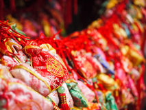 Chinese amulets. Colorful hanging chinese amulets in china Royalty Free Stock Images