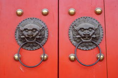 Chinese ancient architectural door copper ring Royalty Free Stock Image