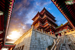 Chinese ancient architecture. Dusk Chinese ancient buildings under the sky background (Nanchang Poetic Royalty Free Stock Photo